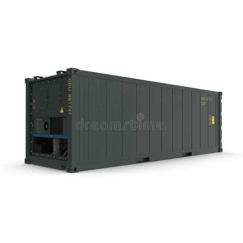 ISO Gekoelde die Container op witte 3D Illustratie wordt geïsoleerd vector illustratie