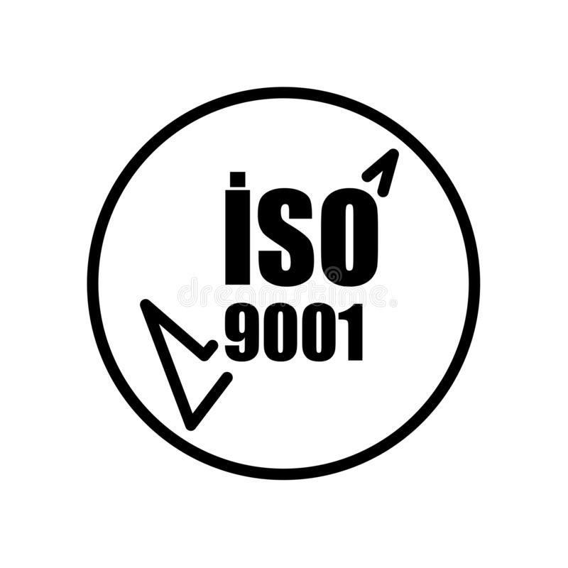 Iso 9001 icon isolated on white background. For your web and mobile app design stock illustration