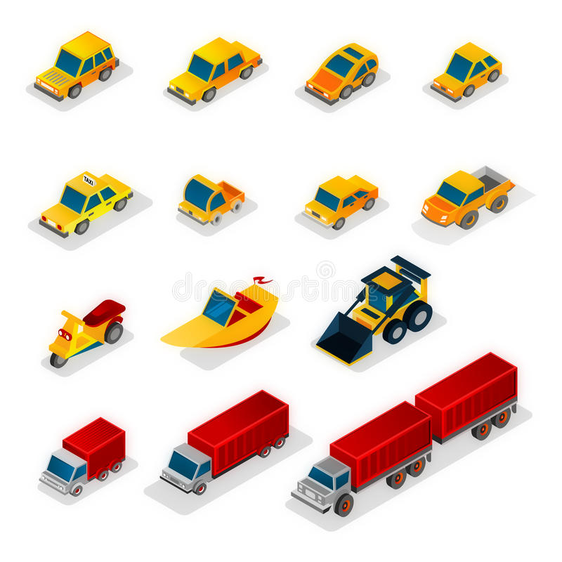 Iso Icons : and industrial vehicles. Collection of Isometric cars Each vehicle is grouped alone, Simple shapes for easy editing vector illustration