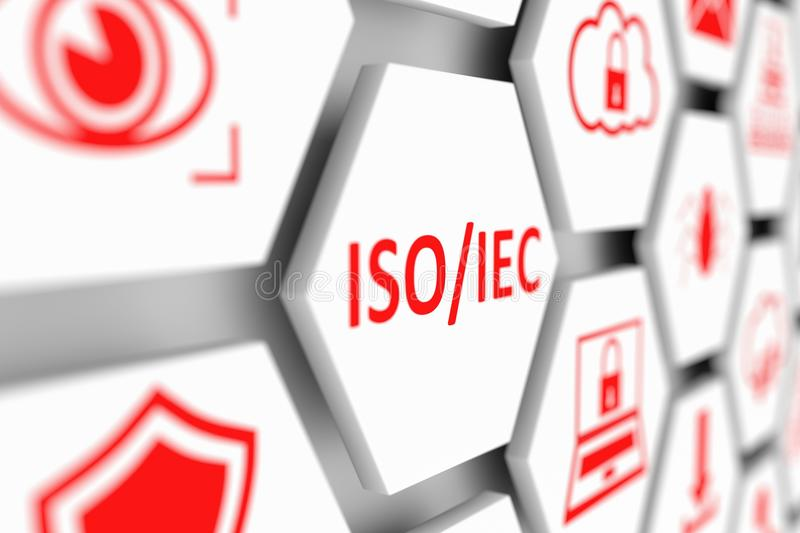 ISO IEC concept. Cell blurred background 3d illustration royalty free illustration