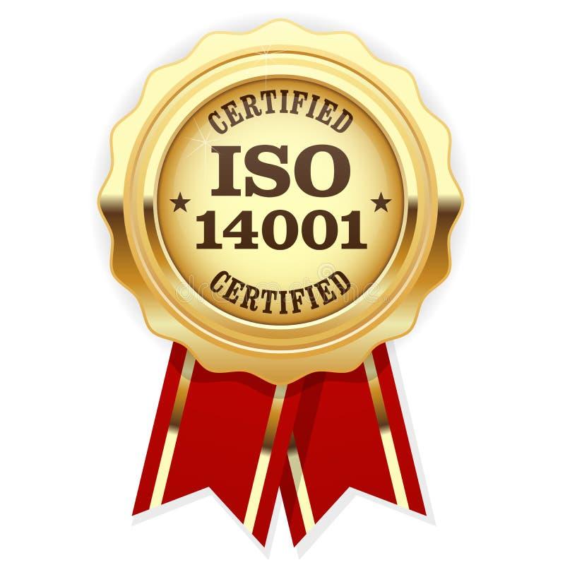 ISO 14001 intygade - den guld- skyddsremsan för den kvalitets- normaln royaltyfri illustrationer