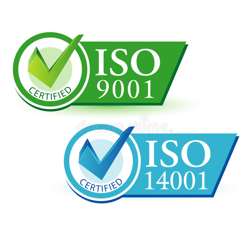 ISO 9001 and ISO 14001 stock vector. Illustration of certified ...