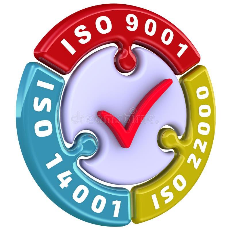 ISO 9001, ISO 14001, ISO 22000 Het vinkje in de vorm van een raadsel royalty-vrije illustratie