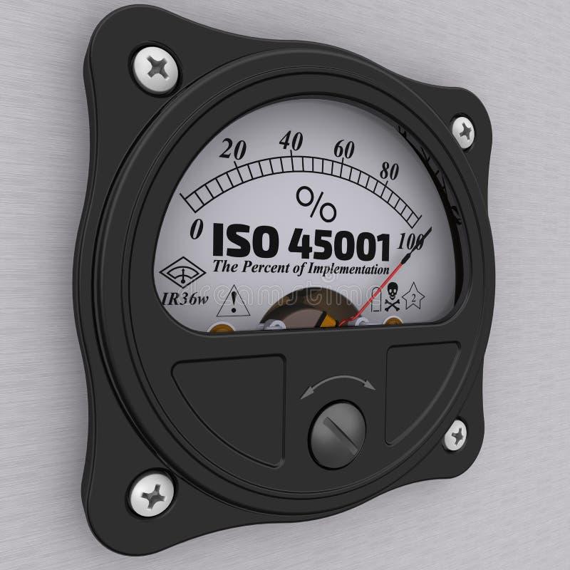 Iso 45001 Le percentuali dell'implementazione indicatore illustrazione vettoriale