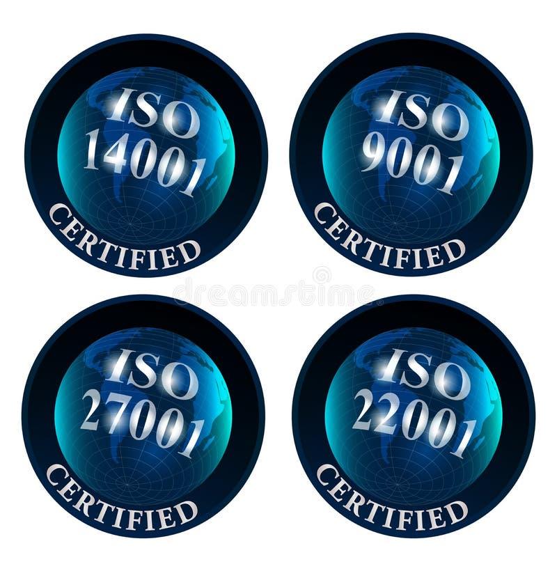 ISO 14001 logotipo certificado 9001 27001 22001 ilustração stock