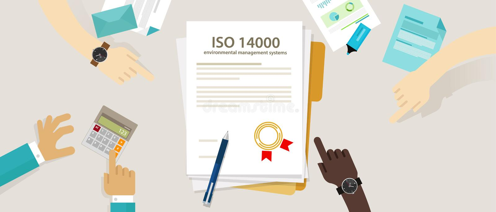 ISO 14000 management environmental standards business compliance to international organization hand audit check document. Vector vector illustration
