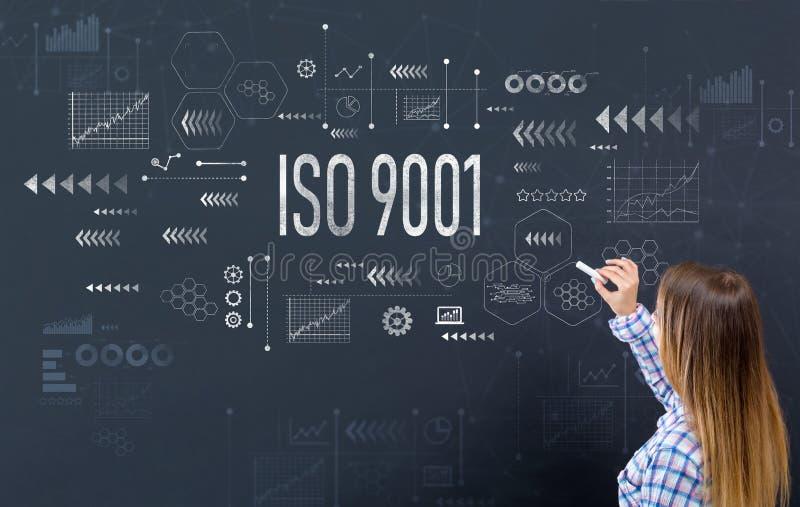 ISO 9001 med den unga kvinnan royaltyfria bilder