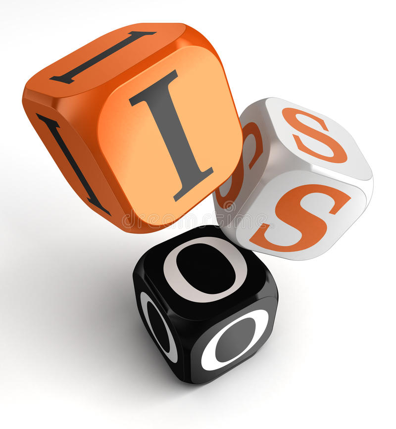 Iso orange black dice blocks. On white background. clipping path included stock illustration