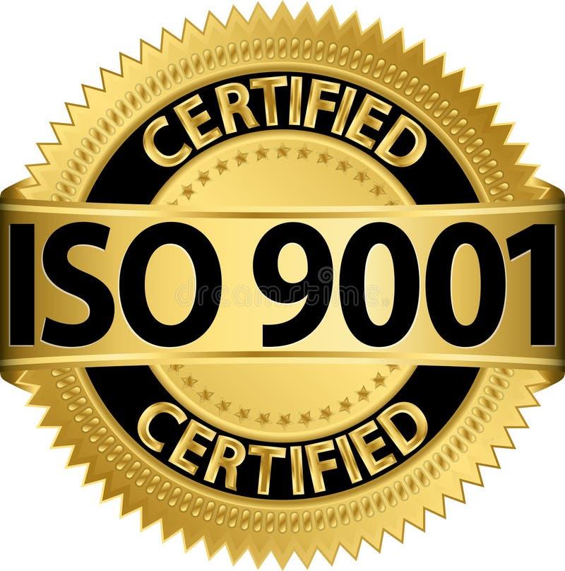 ISO 9001 poświadczał złotą etykietkę, wektor ilustracji