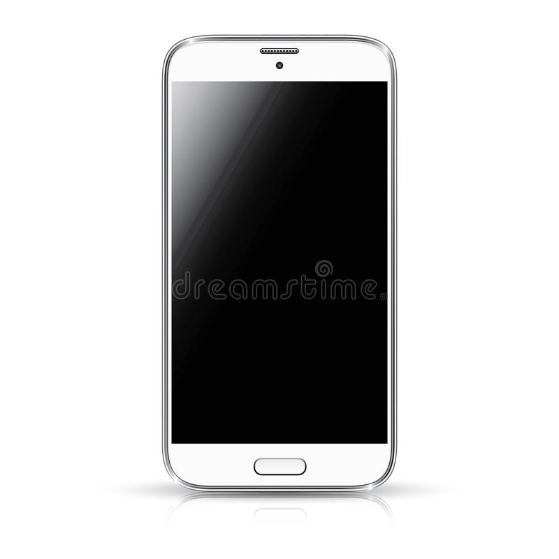 ISO realista del ejemplo del vector del smartphone blanco ilustración del vector