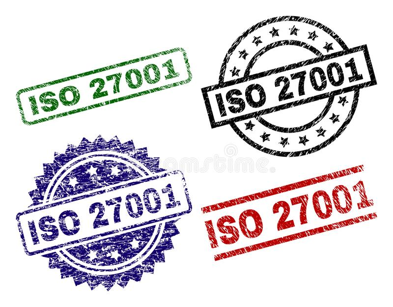 Scratched Textured ISO 27001 Stamp Seals stock illustration