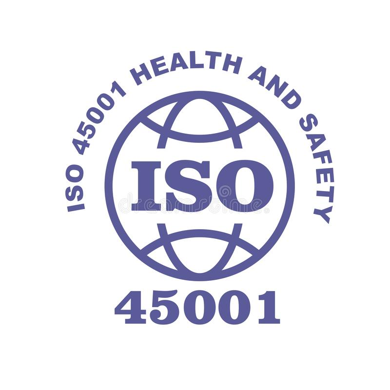 ISO 45001 stamp sign - occupational health and safety royalty free illustration