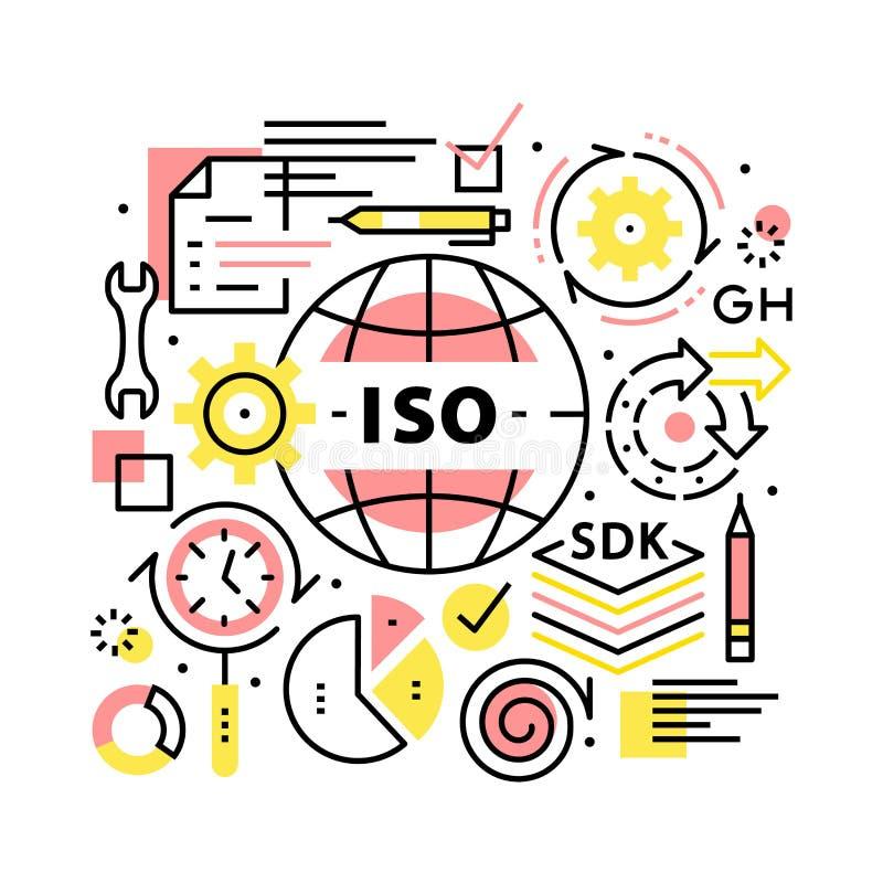 ISO standardów kolażu biznesowy pojęcie royalty ilustracja