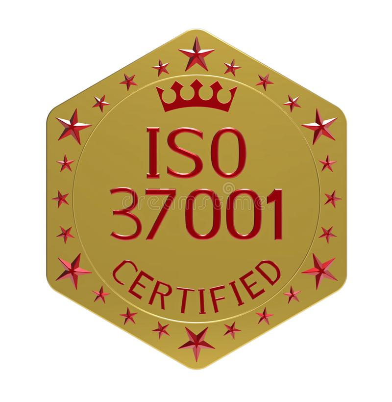 ISO 37001 standard. Anti-bribery management systems, 3D render, isolated on white vector illustration