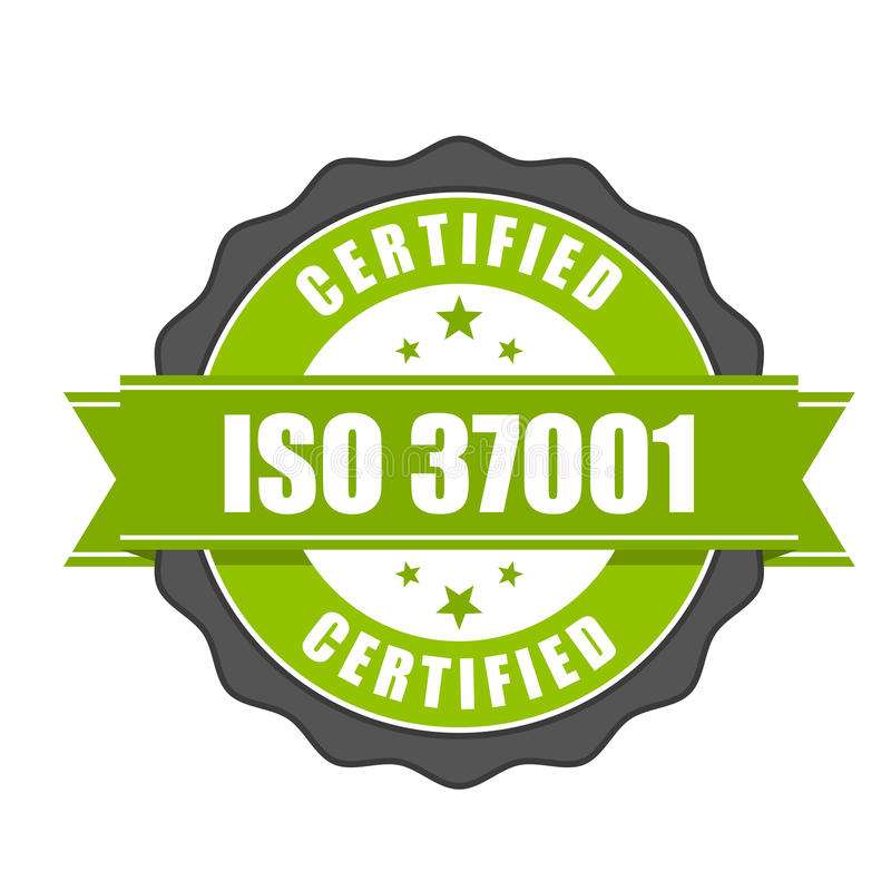 ISO 37001 standard certificate badge - Anti-bribery management s. Ystems seal royalty free illustration