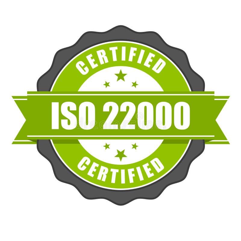 ISO 22000 standard certificate badge - Food safety management royalty free illustration