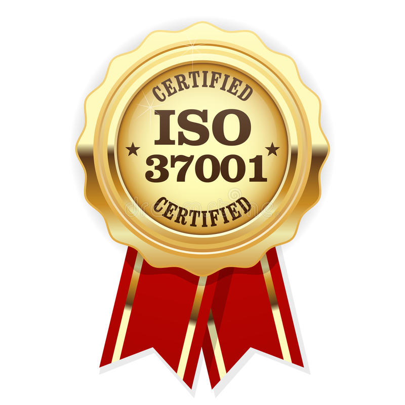 ISO 37001 standard certified rosette - Anti-bribery management. Systems royalty free illustration