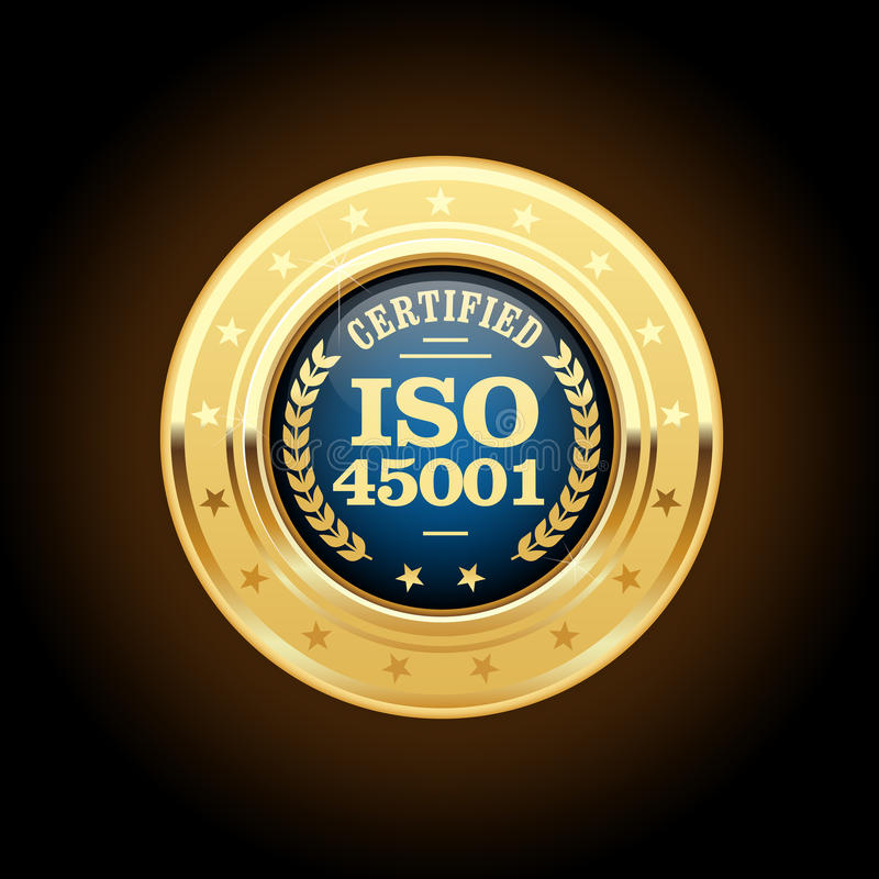ISO 45001 standard medal - health and safety stock illustration