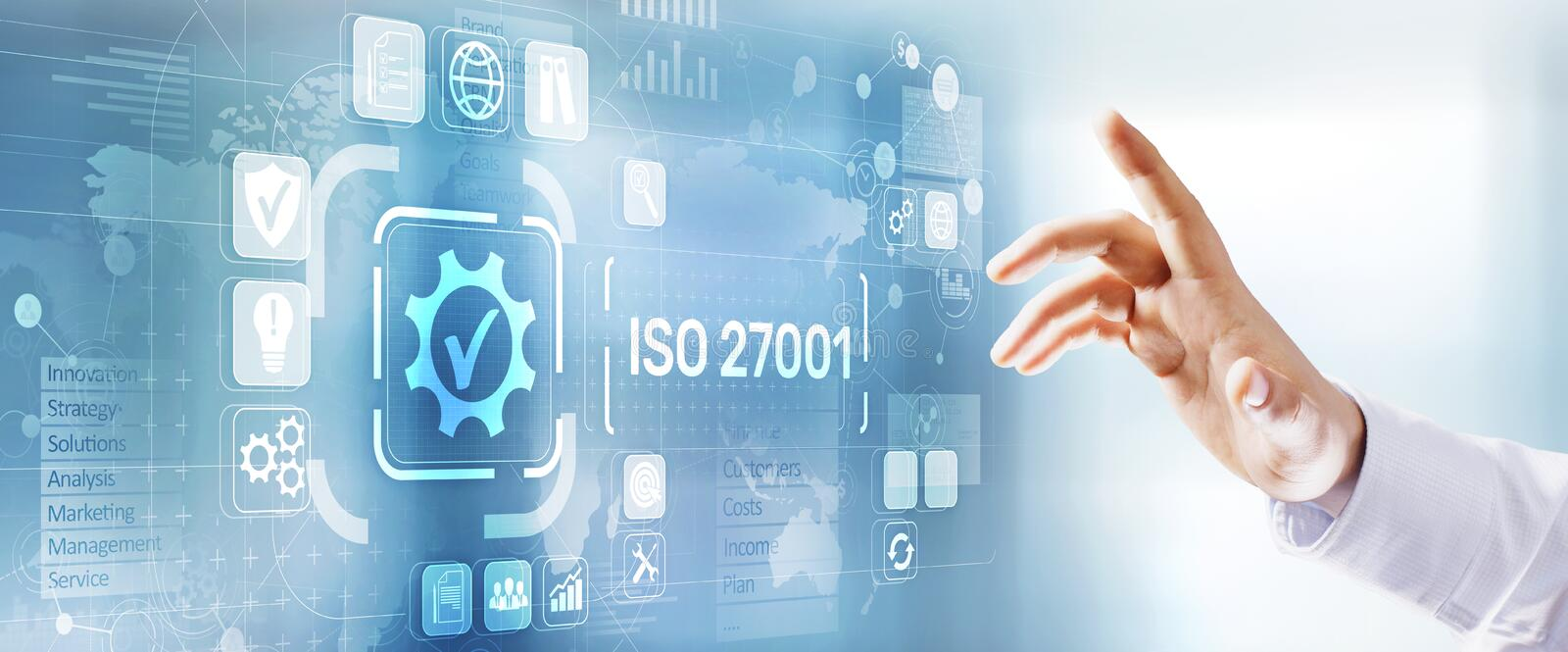 Iso 27001 Standard Quality Certification Assurance Standardisation. Business technology concept. royalty free stock image