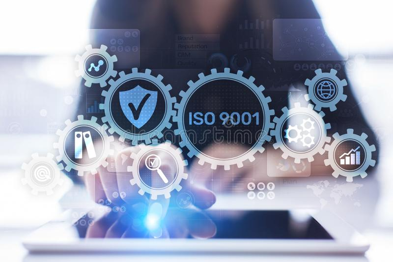 ISO 9001 Standards quality control business technology concept on virtual screen. stock photo