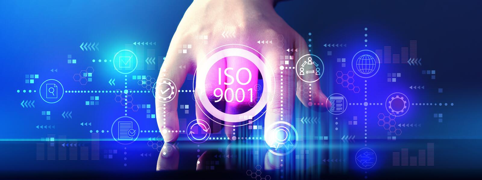 ISO 9001 with tablet computer. ISO 9001 with hand pressing tablet computer screen royalty free stock photo