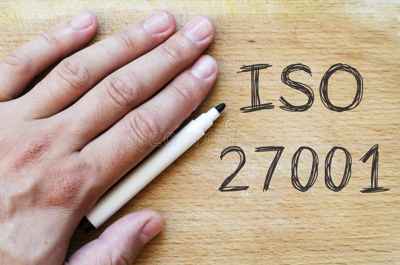 Iso 27001 text concept stock images