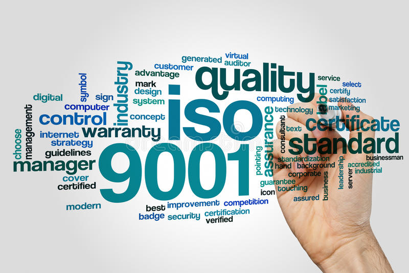 ISO 9001 uttrycker molnet royaltyfri bild