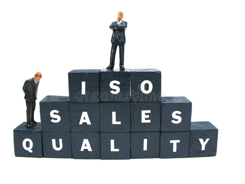 ISO, ventas y calidad imagenes de archivo