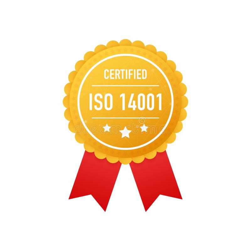 ISO 14001 verklaard gouden etiket op witte achtergrond Vector illustratie vector illustratie
