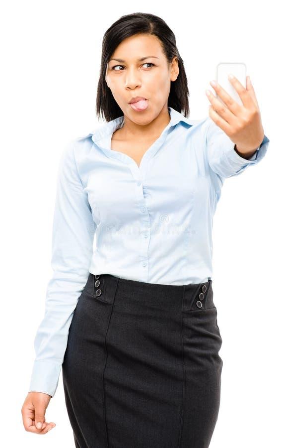 Iso video feliz do telefone celular da mensagem da mulher de negócio da raça misturada foto de stock royalty free
