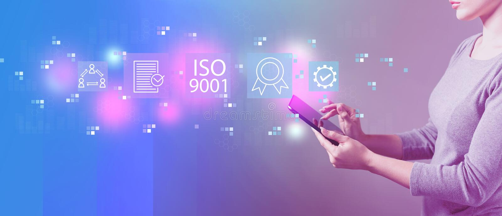 ISO 9001 with woman using a tablet. ISO 9001 with business woman using a tablet computer stock illustration