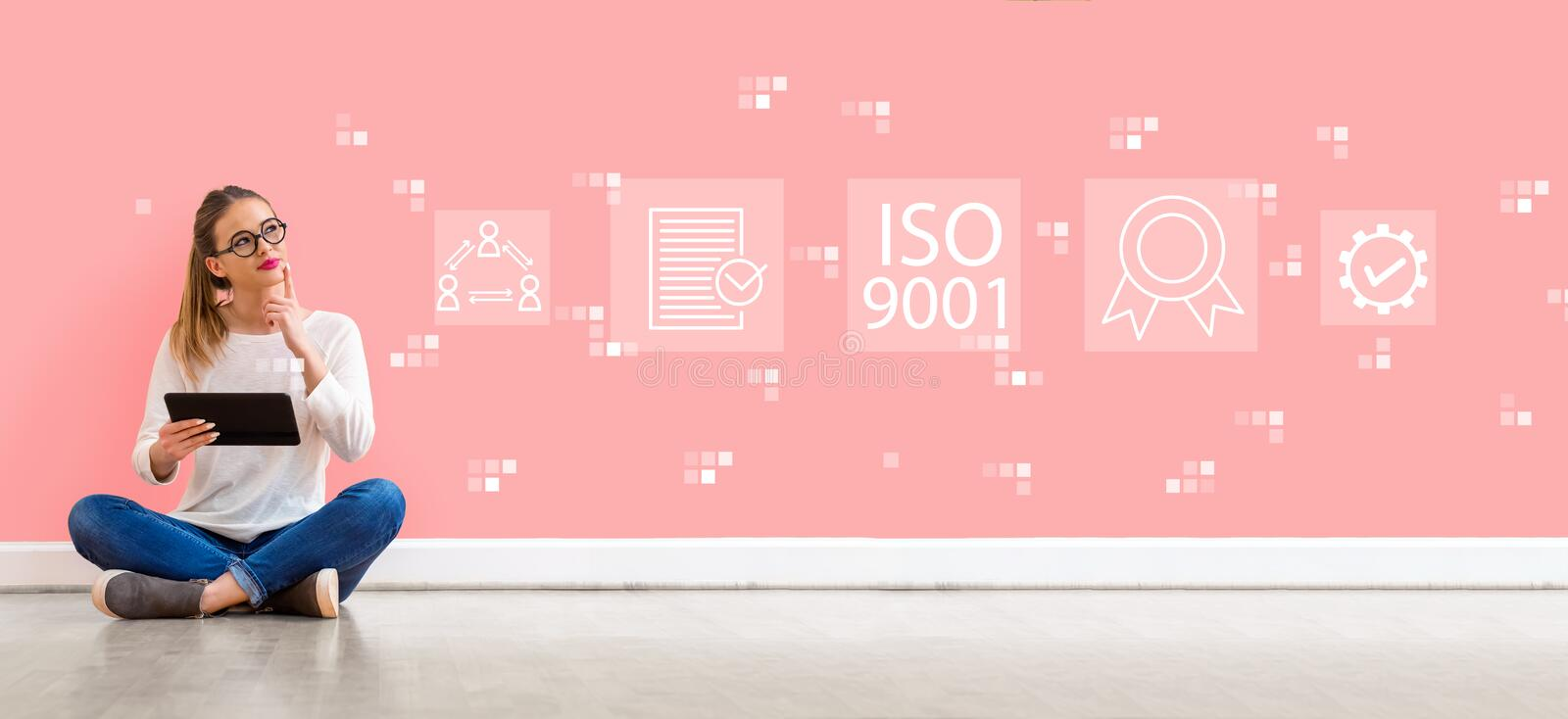 ISO 9001 with woman using a tablet royalty free stock image