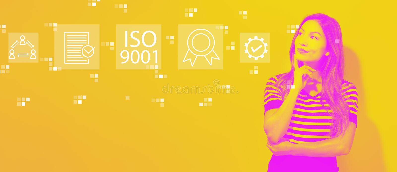 ISO 9001 with young businesswoman stock photo
