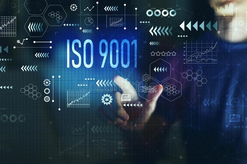 ISO 9001 with young man royalty free illustration