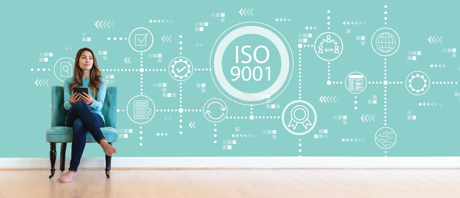 ISO 9001 with young woman royalty free stock image