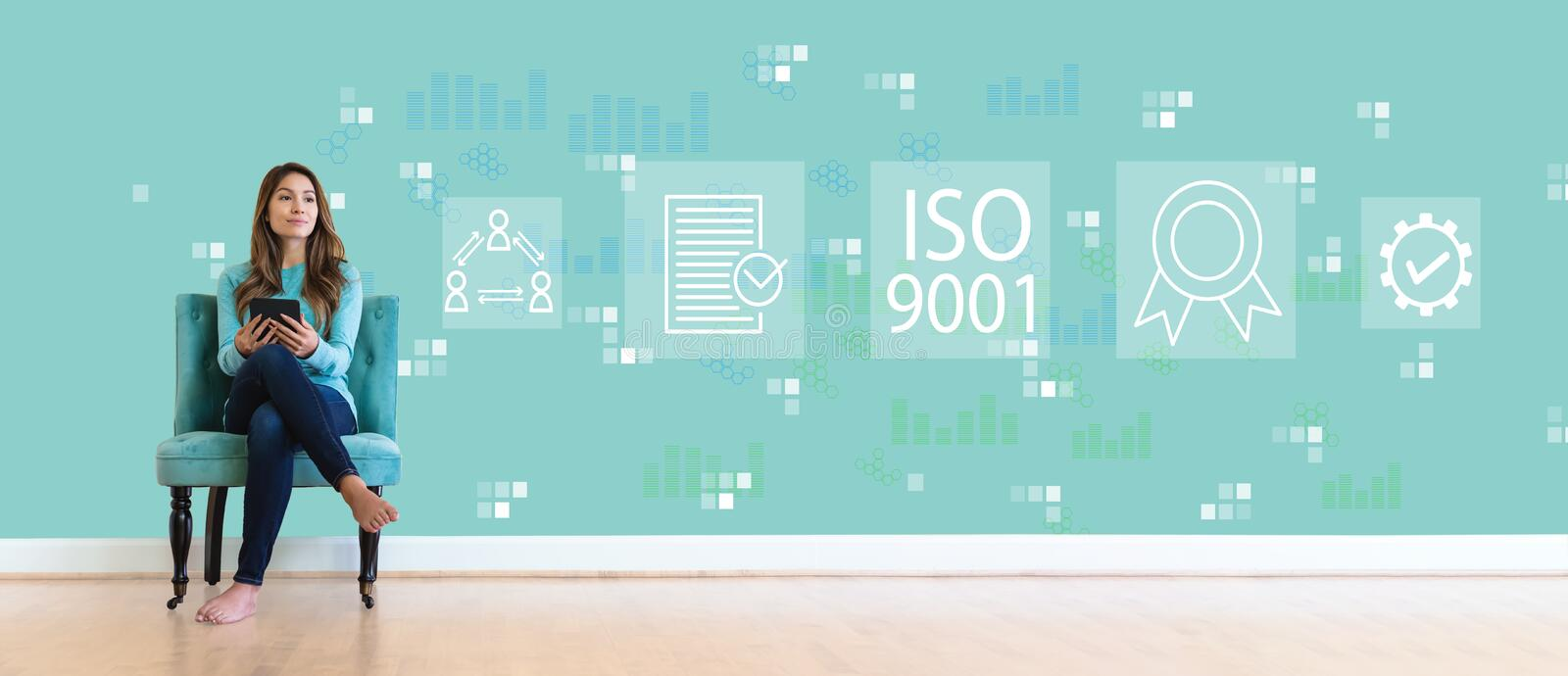 ISO 9001 with young woman stock image