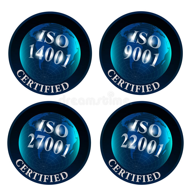 ISO 14001 9001 27001 22001 zugelassenes Logo stock abbildung