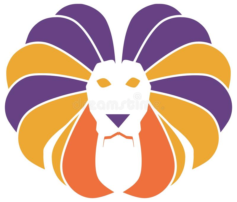 isoalted的风格化五颜六色的狮子 皇族释放例证