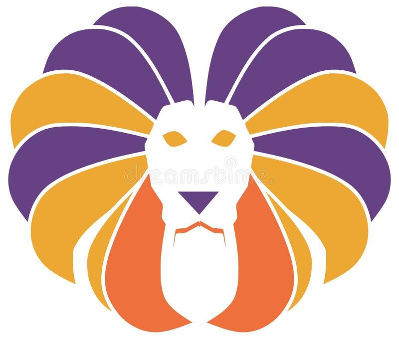 Isoalted stiliserat färgrikt lejon royaltyfri illustrationer