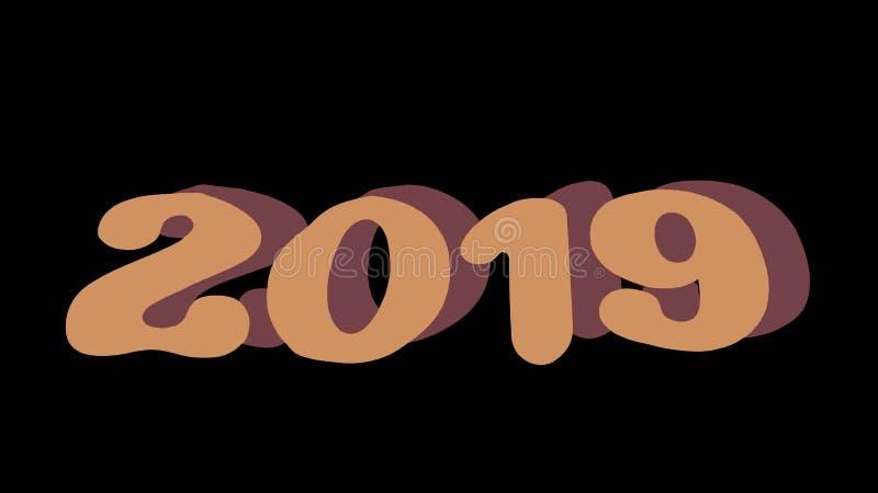 A isolé 2019 écrit avec sur un fond noir, le concept 2019 de bonne année photos stock