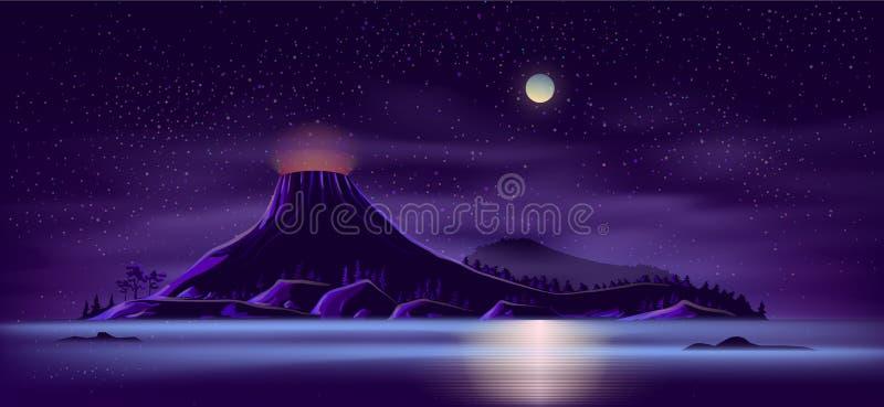 Isola abbandonata con il vettore del fumetto del vulcano attivo illustrazione vettoriale