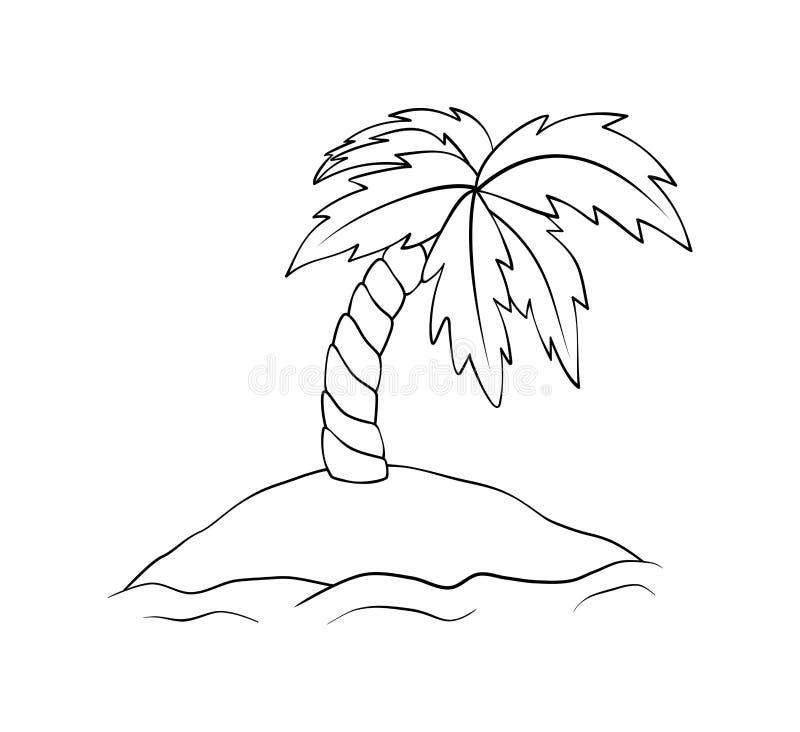 Isola abbandonata con la palma Illustrazione del profilo dell'isola di vettore isolata su fondo bianco Libro da colorare per i ba illustrazione vettoriale