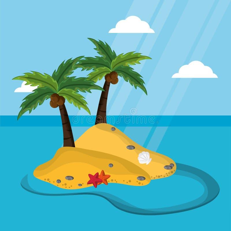 Isola abbandonata con luce solare della cozza delle stelle marine della noce di cocco della palma royalty illustrazione gratis