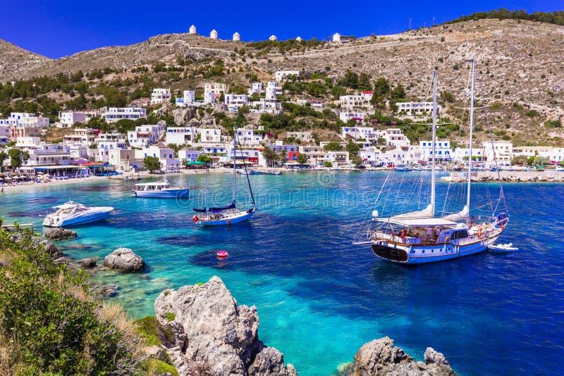Isola autentica di stupore di Leros - della Grecia, villaggio di Panteli e spiaggia Dodekanese immagine stock