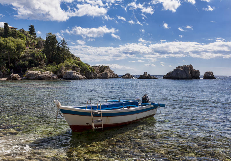 Isola Bella boat. Island of Isola Bella Taormina royalty free stock photo
