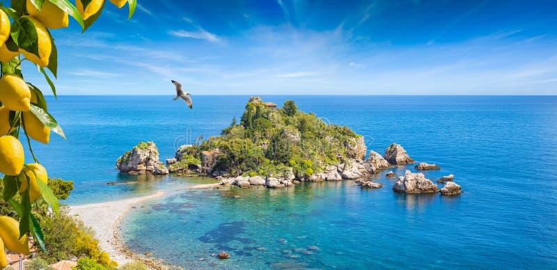 Isola Bella dichtbij Taormina, Sicili?, Itali? stock afbeelding