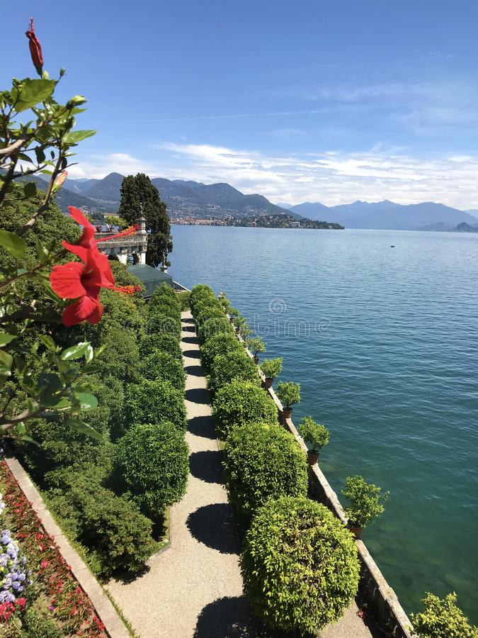Isola Bella Gardens with Trees in a Row and Lake View stock photo