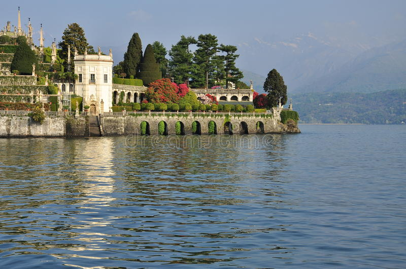Isola Bella hanging gardens. Lake Maggiore, Italy. The Borromeo Italian hanging and terraced gardens on Isola Bella. Stresa, Lake Maggiore, Italy. Northern royalty free stock image