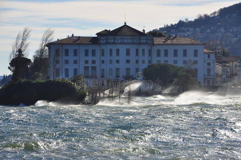 Isola Bella, Lake - lago - Maggiore, Italy. strong wind stock photos
