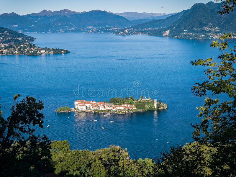 Isola Bella Lake Maggiore Italy. Overview of the island of Isola Bella in Lake Maggiore, seen from the hills above Stresa. Piedmont, Italy stock photos